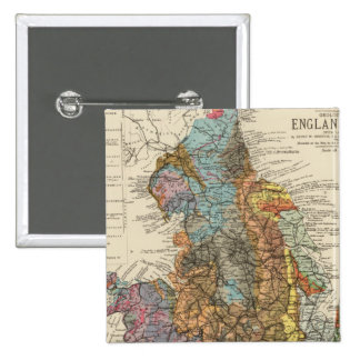 Geological map England, Wales Pinback Button