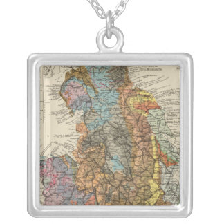 Geological map England, Wales Silver Plated Necklace