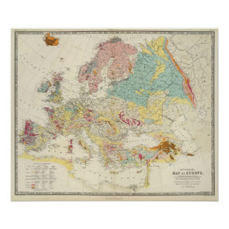Geological map Europe Print
