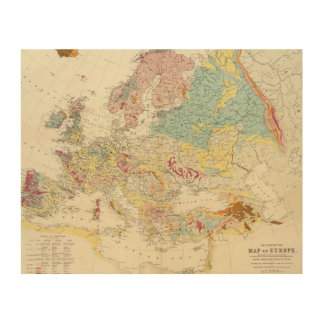 Geological map Europe Wood Canvases