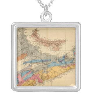 Geological map, Maritime Provinces Square Pendant Necklace