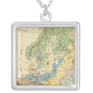 Geological Map of Europe Silver Plated Necklace