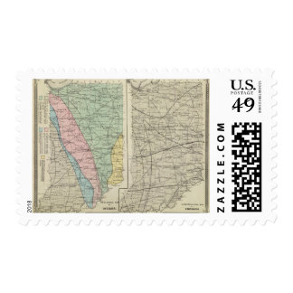 Geological map of Indiana Postage