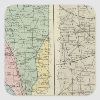 Geological map of Indiana Square Sticker
