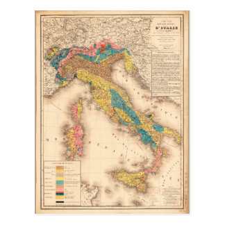 Geological Map of Italy by H. de Collegno (1844) Postcard