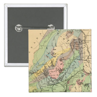 Geological map of Maine 2 Inch Square Button