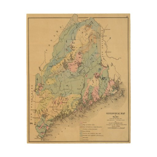 Geological Map Of Maine Wood Canvas Zazzle