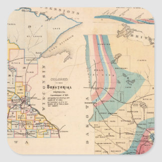 Geological map of Minnesota by NH Winchell Square Sticker