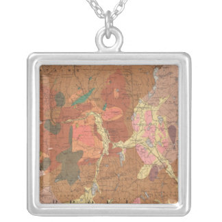 Geological Map of New Hampshire Silver Plated Necklace