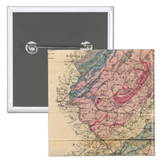 Geological map of New Jersey 2 Inch Square Button