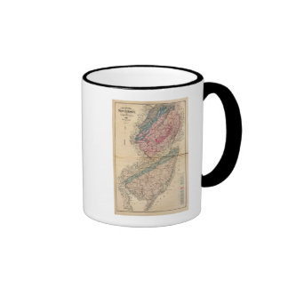 Geological map of New Jersey Ringer Coffee Mug