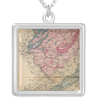 Geological map of New Jersey Silver Plated Necklace