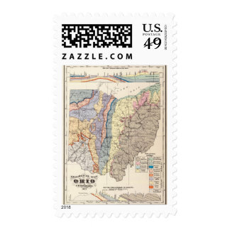 Geological map of Ohio Postage