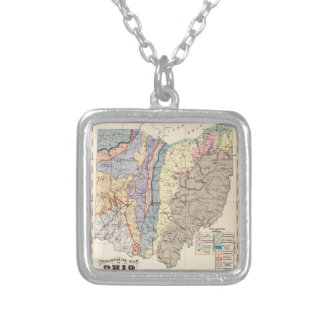 Geological map of Ohio Square Pendant Necklace