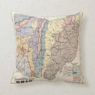 Geological map of Ohio Throw Pillow