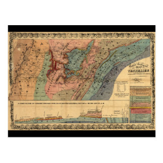 Geological Map of Tennessee (1866) Postcard