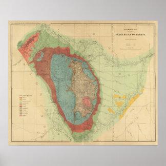 Geological map of the Black Hills of Dakota Print