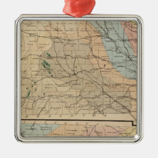 Geological map of the State of Iowa Metal Ornament