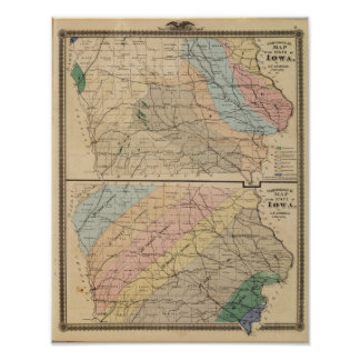 Geological map of the State of Iowa Poster