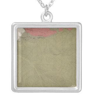 Geological Map of the Sulphur Bank District Square Pendant Necklace