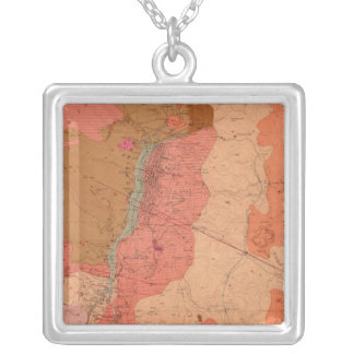 Geological Map of the Washoe District Silver Plated Necklace