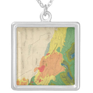 Geological Map Of The Western Part Silver Plated Necklace