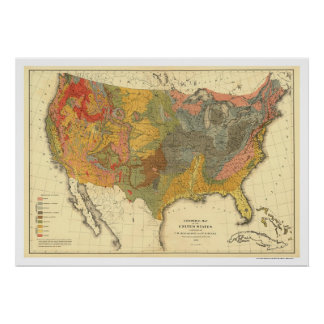 Geological Map Of USA 1872 Poster