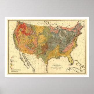 Geological Map Of USA 1872 Print