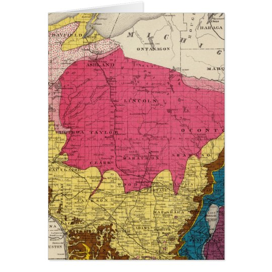 Geological map of Wisconsin Card