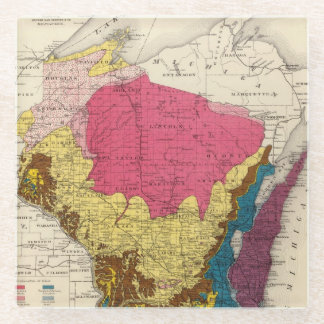 Geological map of Wisconsin Glass Coaster