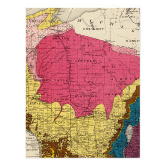 Geological map of Wisconsin Post Card
