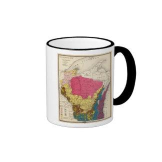 Geological map of Wisconsin Ringer Coffee Mug