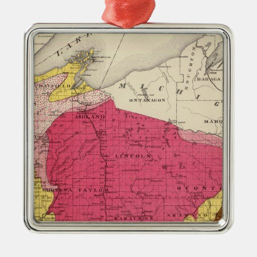 Geological map of Wisconsin Square Metal Christmas Ornament