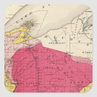 Geological map of Wisconsin Square Sticker
