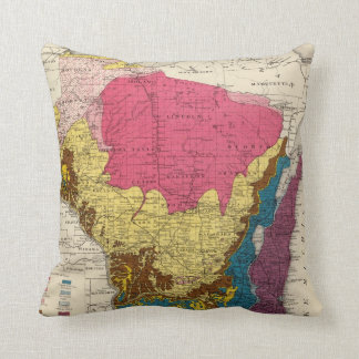 Geological map of Wisconsin Throw Pillow