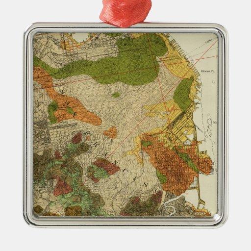 Geological map San Francisco Christmas Tree Ornaments