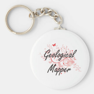 Geological Mapper Artistic Job Design with Butterf Keychain
