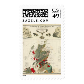 Geological, palaeontological map British Islands Stamps