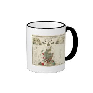 Geological, palaeontological map British Islands Ringer Mug