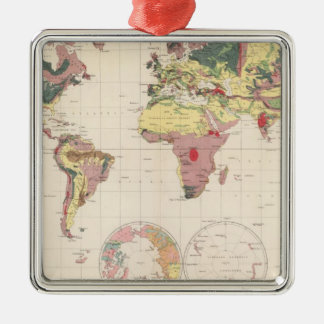 Geological structure of globe square metal christmas ornament