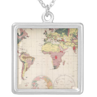 Geological structure of globe silver plated necklace