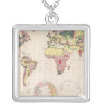 Geological structure of globe square pendant necklace