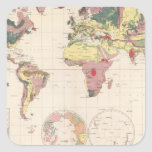 Geological structure of globe square sticker