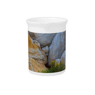 Geological Texture layers and Yellow Flowers Beverage Pitcher