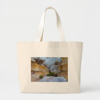 Geological Texture layers and Yellow Flowers Large Tote Bag