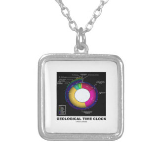 Geological Time Clock (Earth Science) Square Pendant Necklace