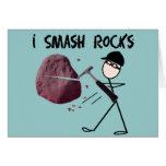 "Geologist Stickman ""I Smash Rocks"" Greeting Cards"