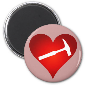 Geologist's Heart and Rock Hammer Magnet