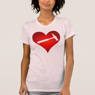 Geologist's Heart and Rock Hammer T-Shirt
