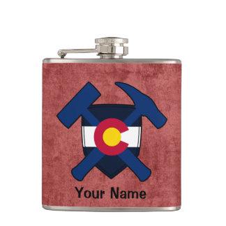 Geologist's Rock Hammer Shield- Colorado Flag Flask
